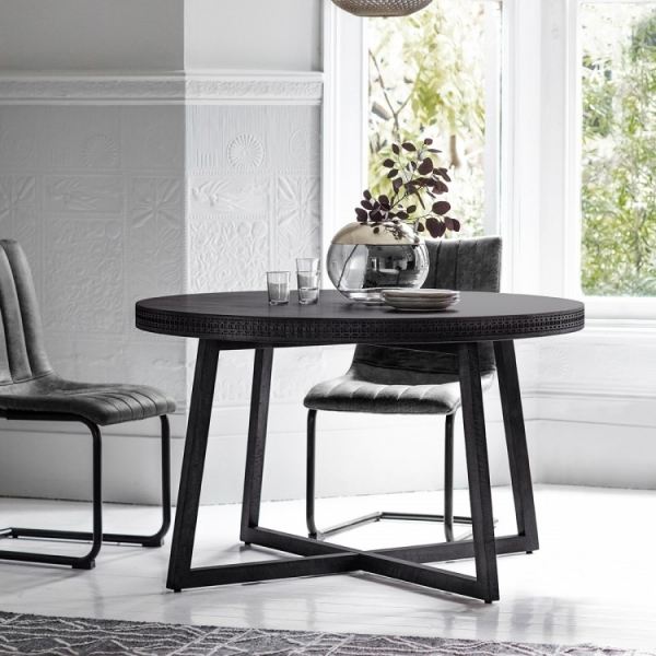 Round Dining Tables For 10: Zephyr Black Round Dining Table