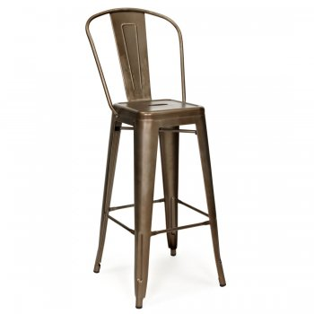 Xavier Pauchard Tolix Style Metal Bar Stool with High Back Rest, Rustic 65cm