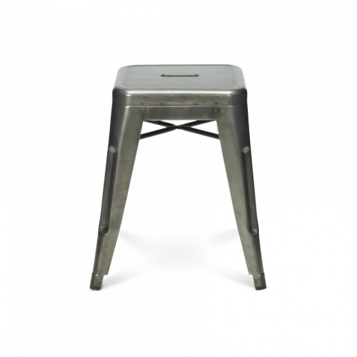 Xavier Pauchard Tolix Style Metal Low Stool - Gunmetal 45cm