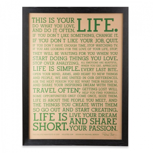 Holstee Original LIFE Manifesto Framed Print - Natural / Green