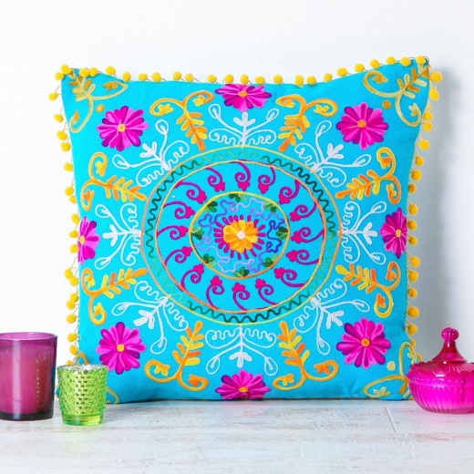 Suzani Embroidered Suzani Square Cushion - Turquoise and Pink