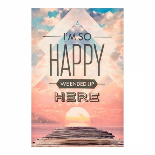 Cult Living Wall Art Typography Canvas Print, Happy