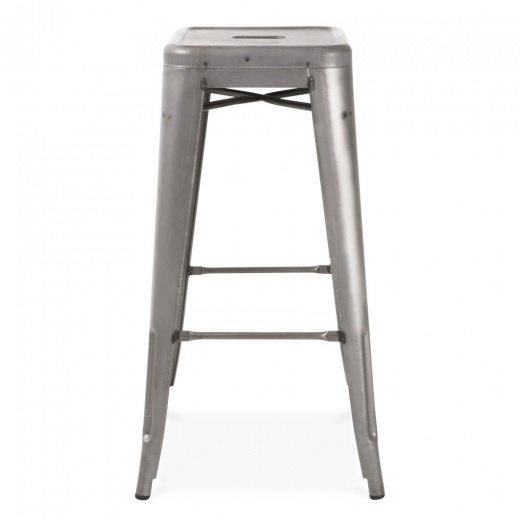 Xavier Pauchard Tolix Style Metal Stool - Gunmetal with Weld Spots 75cm - Clearance Sale
