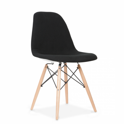 Eames Inspired DSW Chair Fabric Upholstered, Black