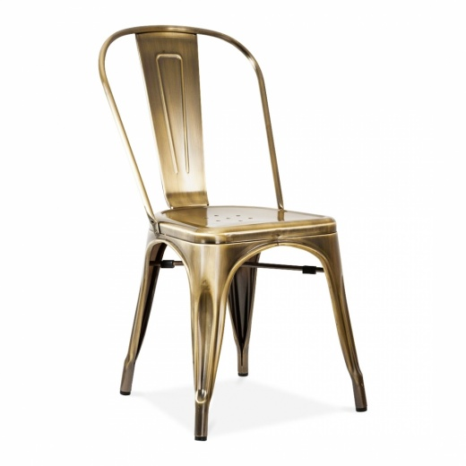 Xavier Pauchard Tolix Style Metal Side Chair - Brass