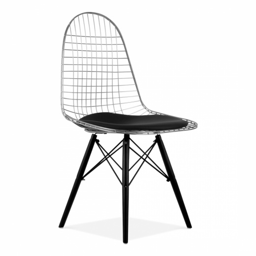 Eames Inspired Chrome DKR Wire Chair with Wood Legs