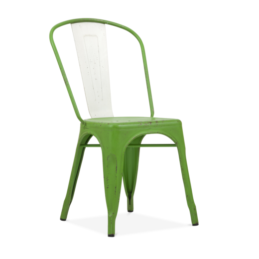 Xavier Pauchard Hand Distressed Vintage Tolix Style Side Chair with White Back - Garden Green