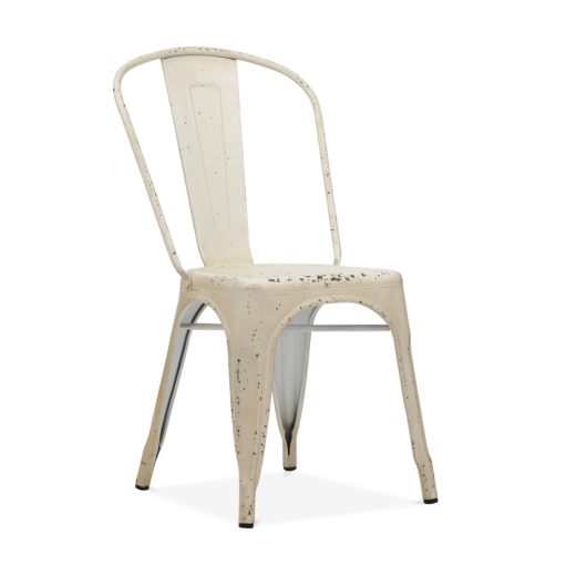 Xavier Pauchard Hand Distressed Vintage Tolix Style Side Chair with White Back - White
