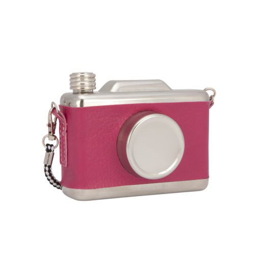 Cult Living Cool Retro Vintage Camera Design Hip Flask - Hot Pink