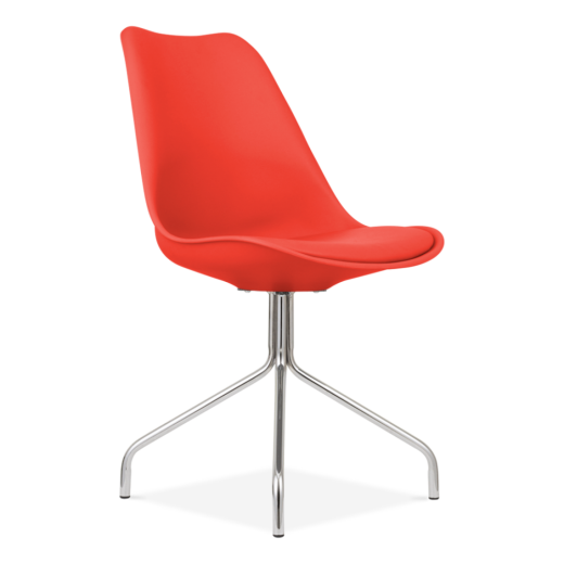Eames Inspired Red Dining Chairs With Metal Cross Legs