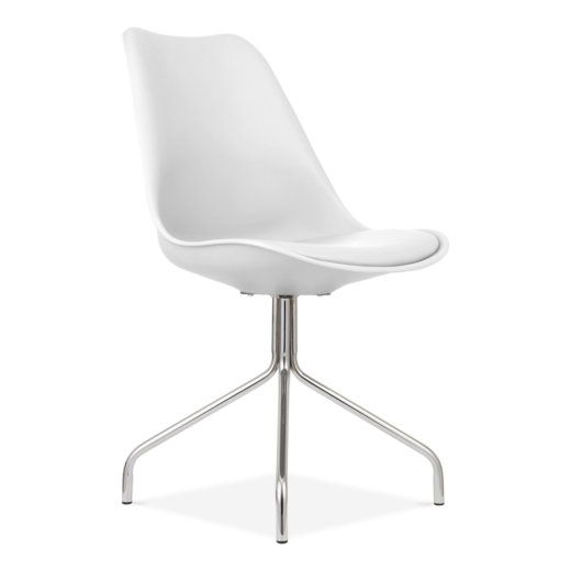 Eames Inspired White Dining Chairs With Metal Cross Legs
