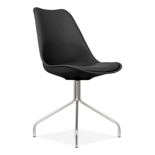 Eames Inspired Black Dining Chairs With Metal Cross Legs