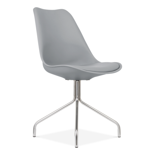 Eames Inspired Dining Chairs With Metal Cross Legs - Cool Grey