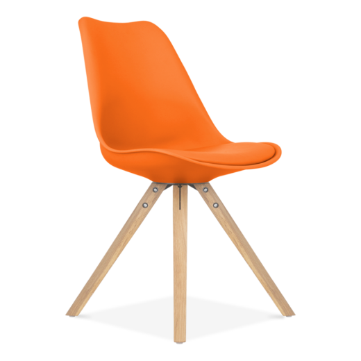 Eames Inspired Orange Dining Chair with Pyramid Style Solid Oak Wood Legs
