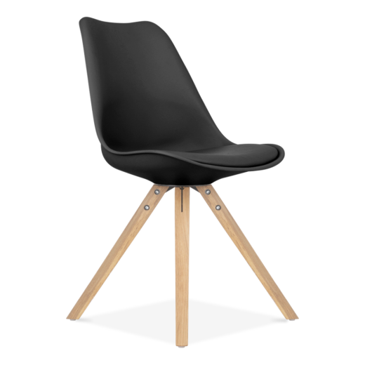 Eames Inspired Black Dining Chairs with Pyramid Solid Oak Wood Legs