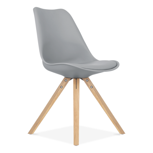 Eames Inspired Grey Dining Chair with Pyramid Style Solid Oak Wood Legs