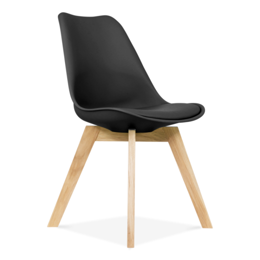 Eames Inspired Black Dining Chairs With Solid Oak Crossed Wood Leg Base