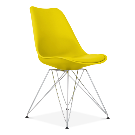 Eames Inspired Yellow Dining Chair with Eiffel Metal Legs