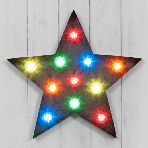 "Marquee 19"" Multi-Coloured Rustic Turbo Light - Star - Clearance Sale"