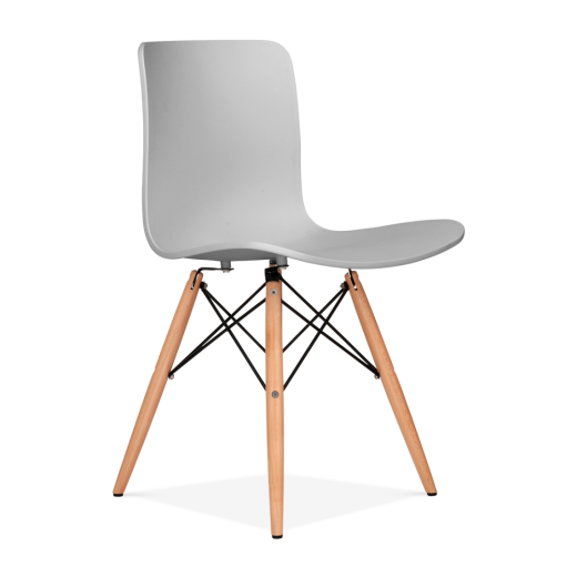 Eames Inspired Berlin Dining Chair With Eiffel Wood Legs - Light Grey