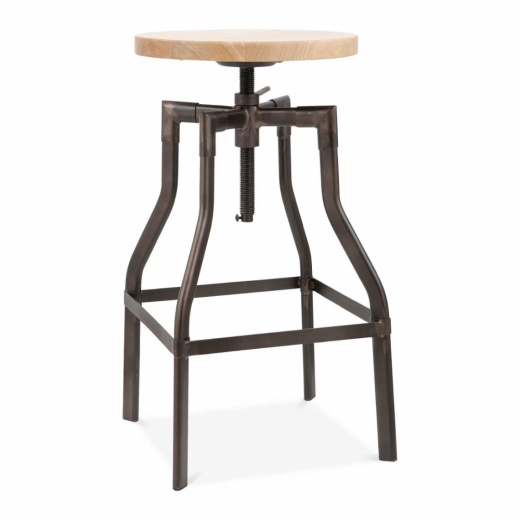 Swivel Industrial Stool with Natural Wood Seat - Rustic 62/77cm
