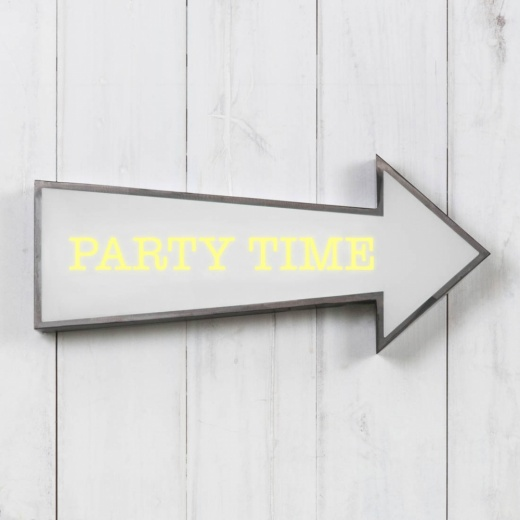 "Cult Living Metal 16"" Arrow Light Box - Party Time"