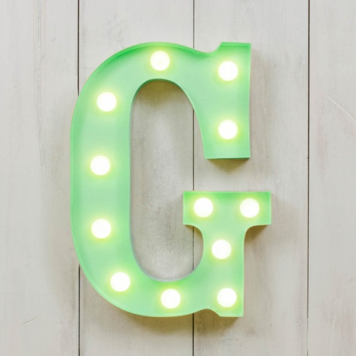 "Vegas Metal 11"" Mini L.E.D. Letter Lights G - Choice of Colour"