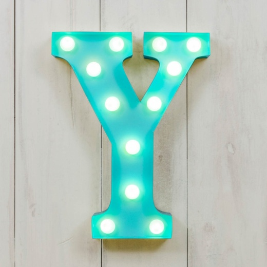 "Vegas Metal 11"" Mini L.E.D. Letter Lights Y - Choice of Colour"