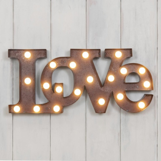 "Vegas Metal L.E.D 18"" LOVE Light up Sign - Rustic"