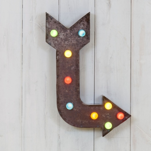 Vegas Metal L.E.D. Circus Light Rustic With Coloured Lights - 'L' Arrow