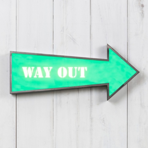 "Cult Living Metal 16"" Arrow Light Box - Way Out"
