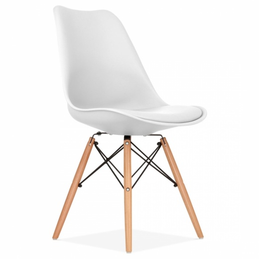 Eames Inspired White Dining Chair with DSW Style Natural Wood Legs