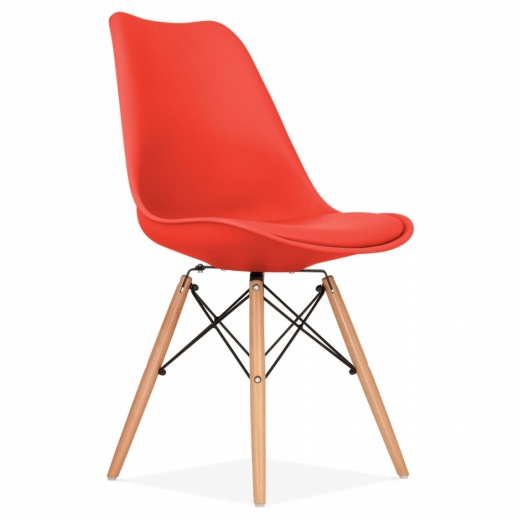 Eames Inspired Red Dining Chair with DSW Style Wood Legs