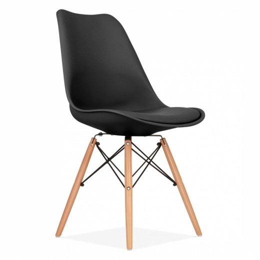 Eames Inspired Black Dining Chair with DSW Style Natural Wood Legs