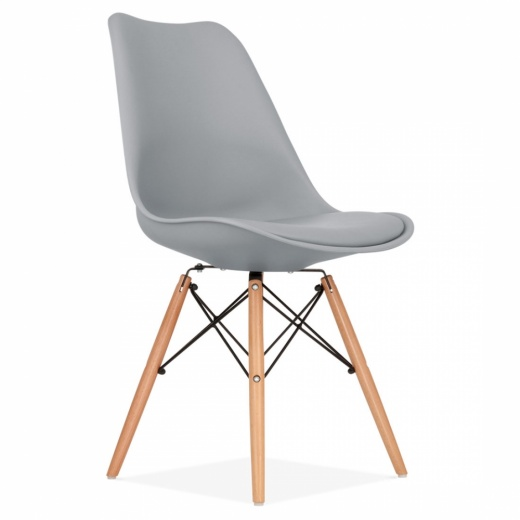 Eames Inspired DSW Style Dining Chair with Natural Wood Legs - Cool Grey
