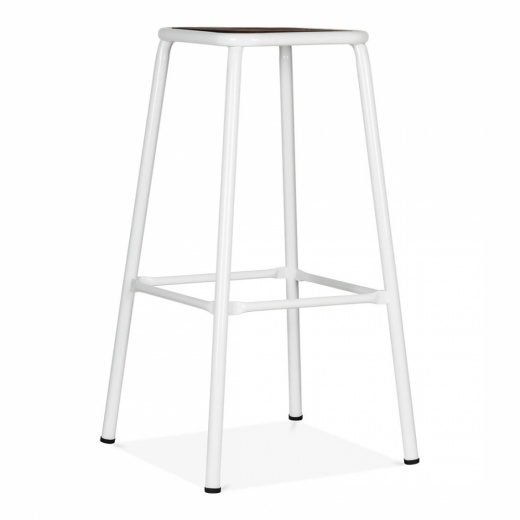 Cult Living Brooklyn Stool - White with Wood Seat 75cm