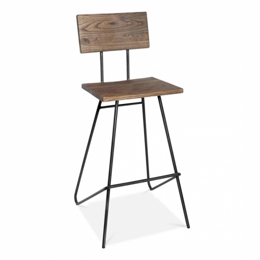 Cult Living Transit Stool with Wood Seat - Black 75cm