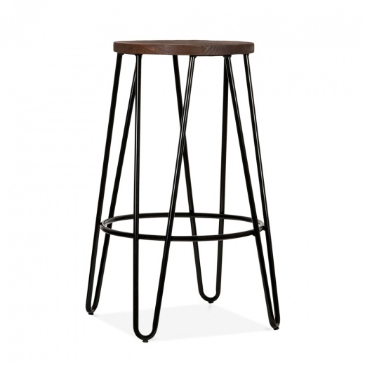 Cult Living Hairpin Stool with Dark Elm Wood Seat - Black 66cm