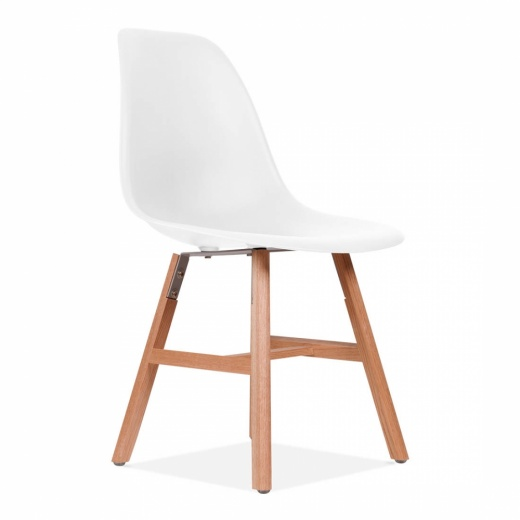 Eames Inspired DSW Side Chair With Windsor Style Legs - White