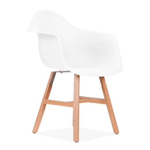 Eames Inspired DAW Side Chair With Windsor Style Legs – White