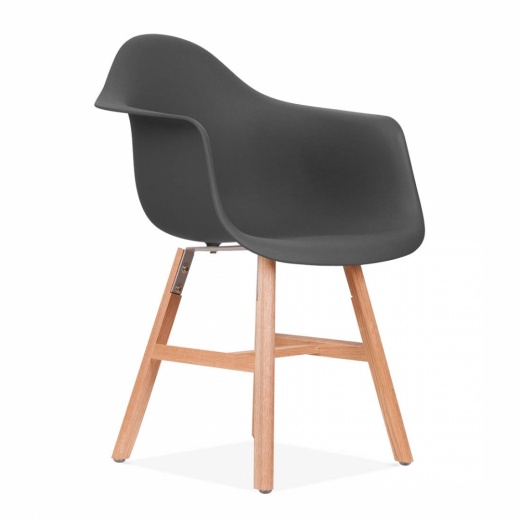 Eames Inspired DAW Side Chair With Windsor Style Legs – Dark Grey