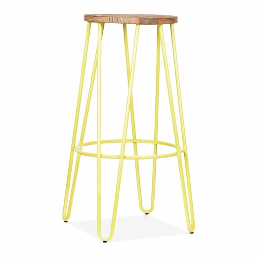 Cult Living Hairpin Stool - Yellow with Natural Elm Wood Seat 76cm