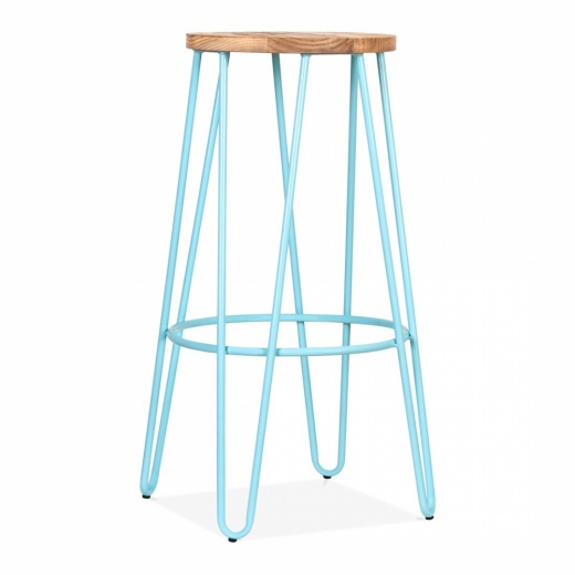 Cult Living Hairpin Stool With Natural Elm Wood Seat - Light Blue 76cm