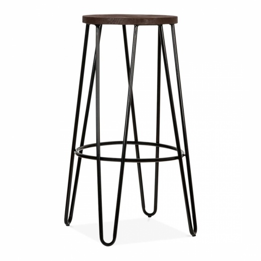 Cult Living Hairpin Bar Stool with Wood Seat Option - Black 76cm