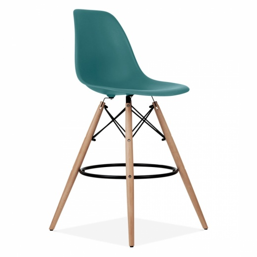 Iconic Designs Eames Style DSW Stool with Backrest, Teal 71cm