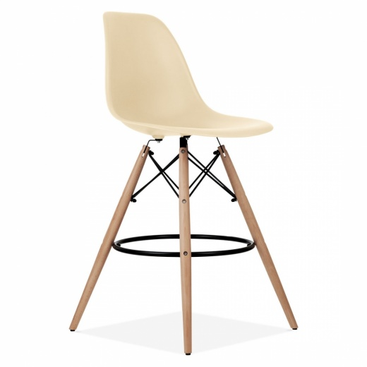 Iconic Designs Eames Style DSW Stool with Backrest, Cream 71cm