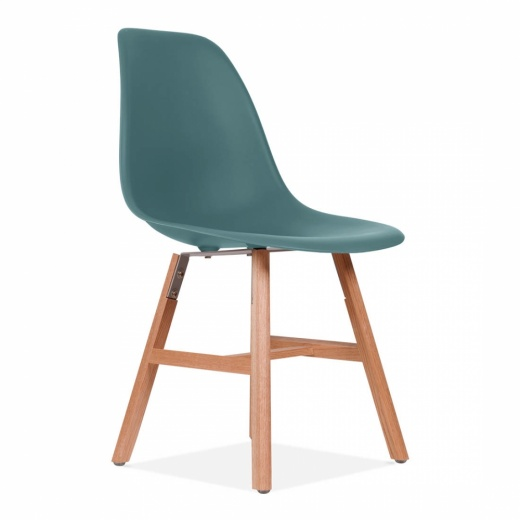 Eames Inspired DSW Side Chair With Windsor Style Legs - Teal