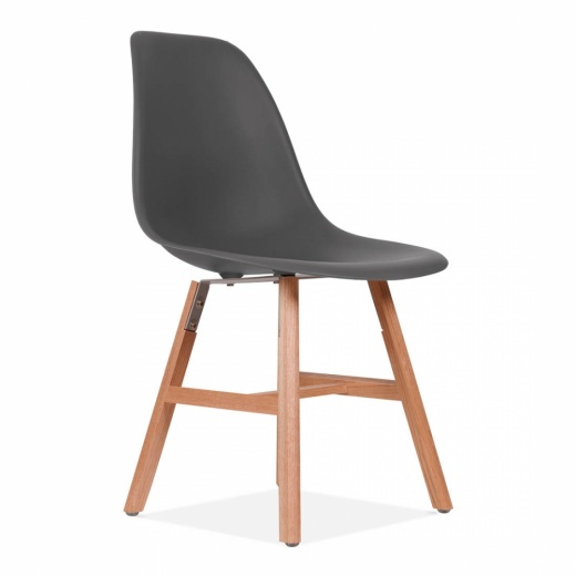 Eames Inspired DSW Side Chair With Windsor Style Legs - Dark Grey