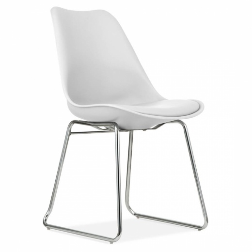 Eames Inspired White Dining Chairs with Soft Pad Seat