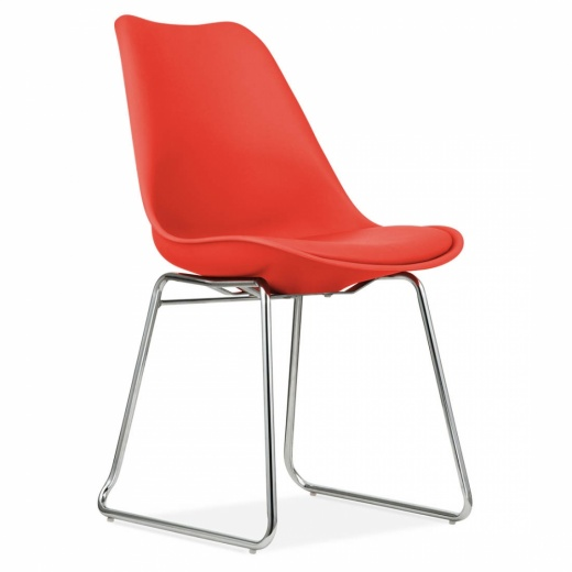 Eames Inspired Red Dining Chairs with Soft Pad Seat